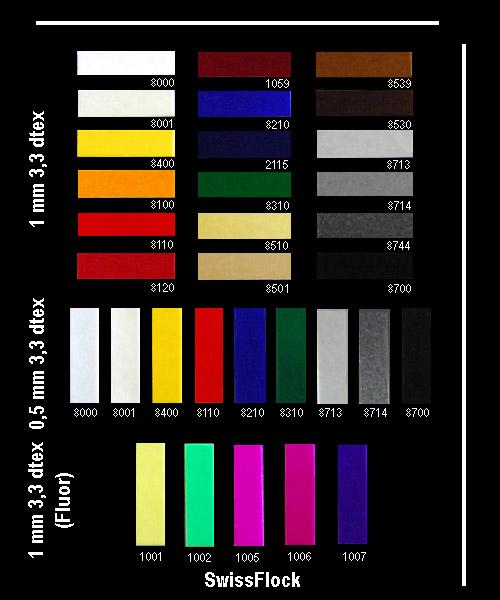 Флок полиамидный, гамма цветов флока, цветовая палитра